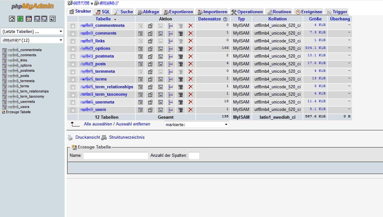 mysql tabellen einer neuen wordpress installation in